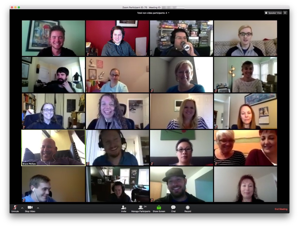 Most of the HPC team members on our monthly all-hands call