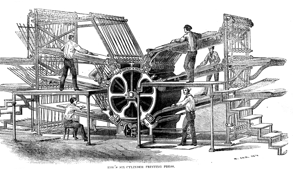 Hoe's six-cylinder rotary press from the 1860s. Source: Wikipedia.