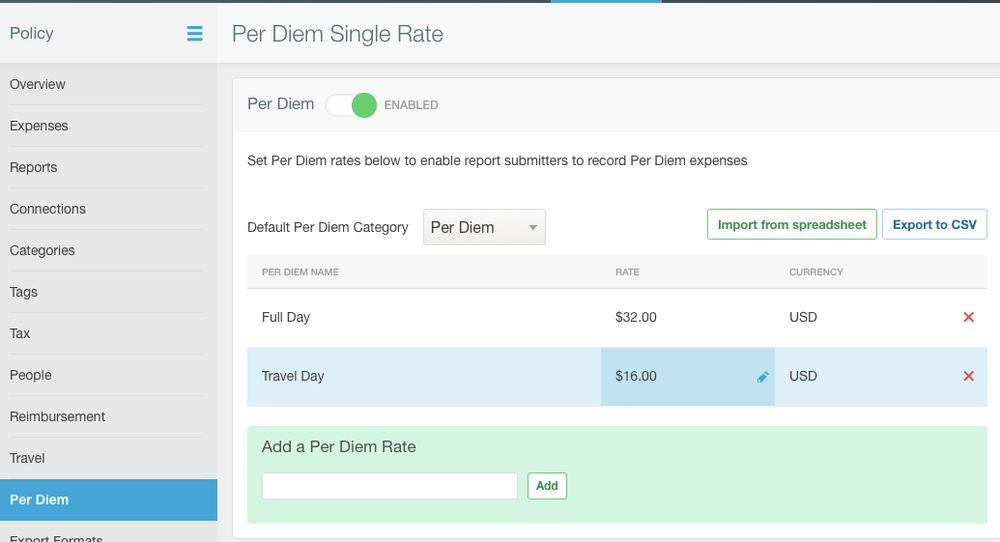 Expensify now supports dedicated Per Diem rates.