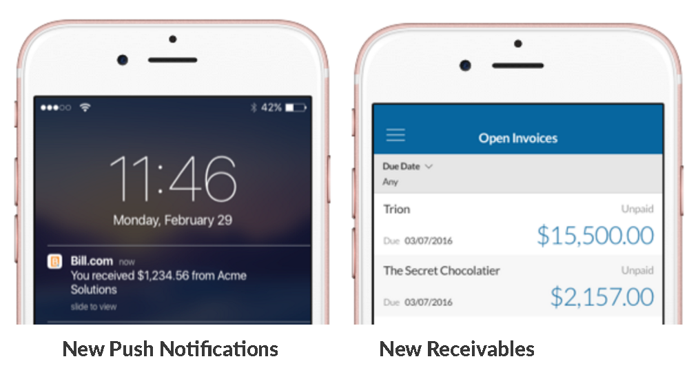 Receivables are now part of the Bill.com iOS app.