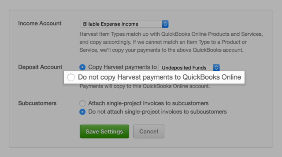 Control whether or not Harvest payments copy to QBO