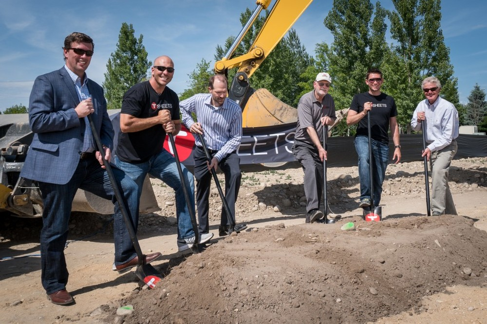 From left to right: Jef DeVoe, Director of Development at Hawkins Companies, Matt Rissell, Co-Founder and CEO of TSheets, Paul Stephens, Senior Development Partner at Hawkins Companies, Gary Hawkins, Owner of Hawkins Companies, Brandon Zehm, Co-Founder and CTO of TSheets, and Stan Ridegway, Mayor of Eagle, Idaho.