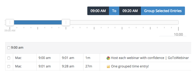 Use the new slider in Chrometa to quickly group time entries.