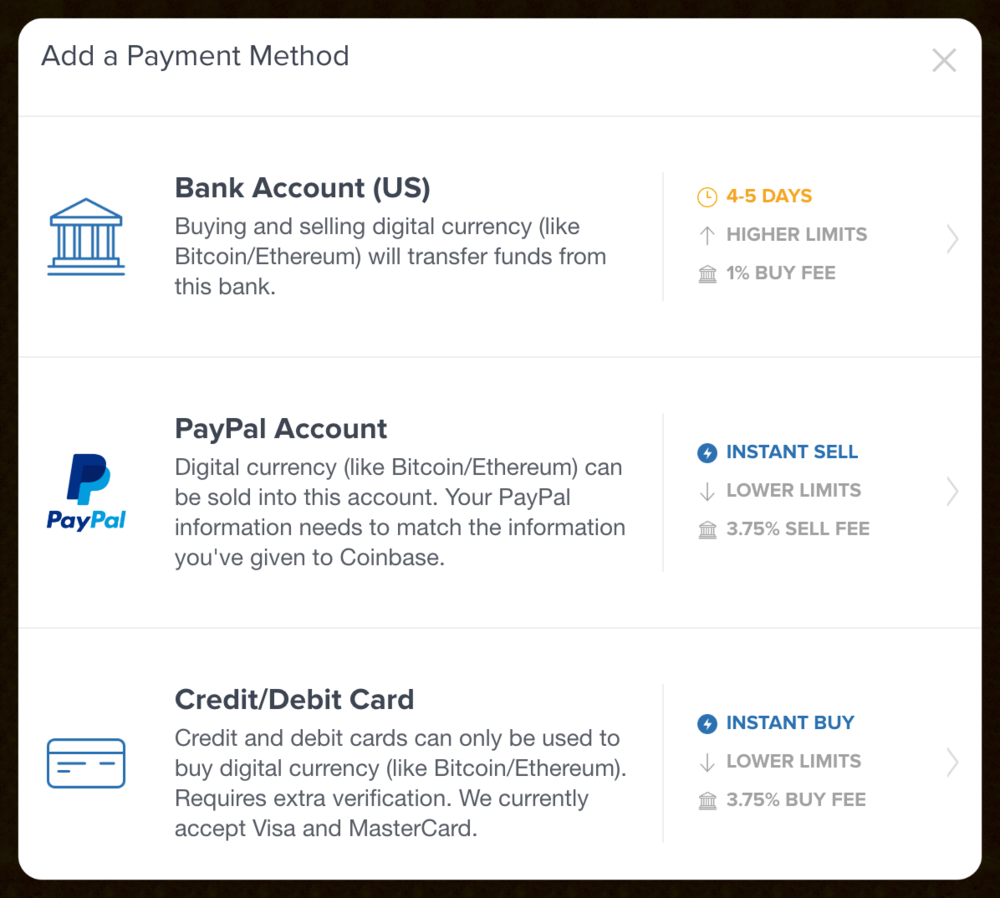 New Coinbase payment options