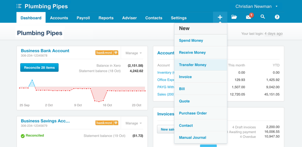 Now create Spend Money, Receive Money, and Transfer transactions from the + menu in Xero