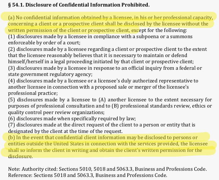 California Board of Accountancy Regulations regarding disclosure of confidential client information