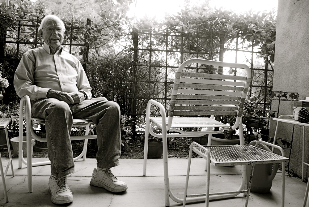 Howard Merrill on his porch outside his apartment at Vista del Monte, a retirement home in Santa Barbara, CA.