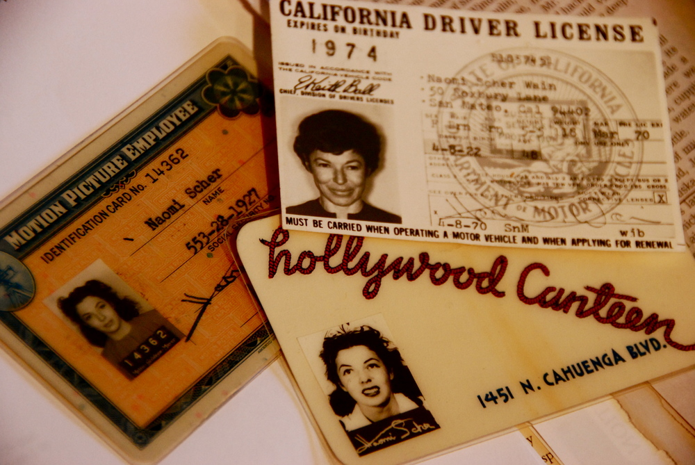 Naomi's ID from her job at MGM, her Hollywood Canteen card, and a 1974 driver's license.