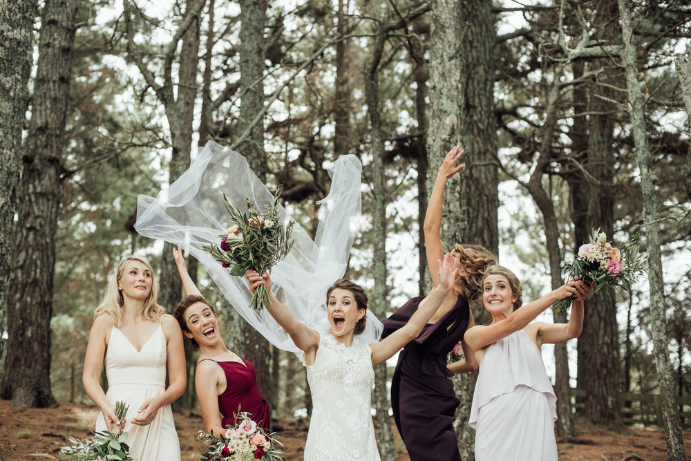 Wedding photography bridesmaids celebration veil