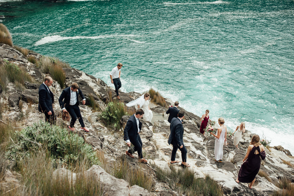 adventure bridal party Wedding photography beach rocks