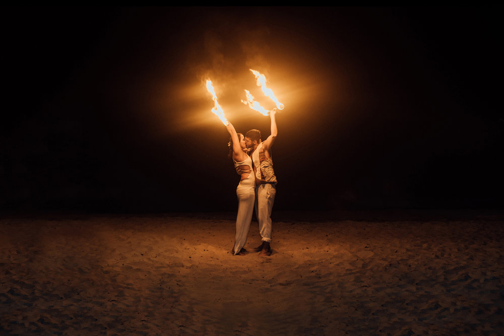 Wedding photography fire dancing first dance