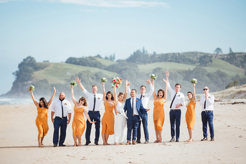 Wedding photography Opoutere bridal party beach