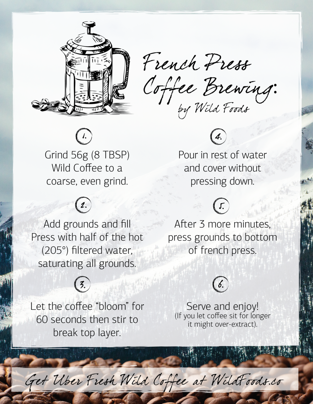 brew coffee with a french press wild coffee poster