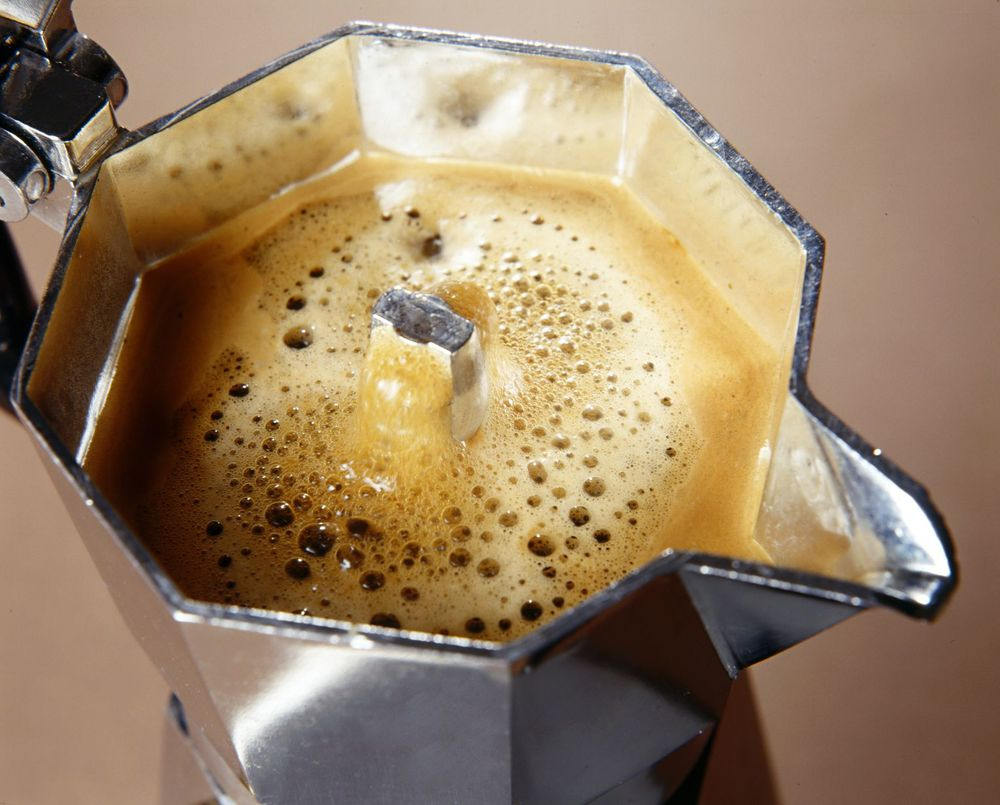 brewing with a moka pot coffee