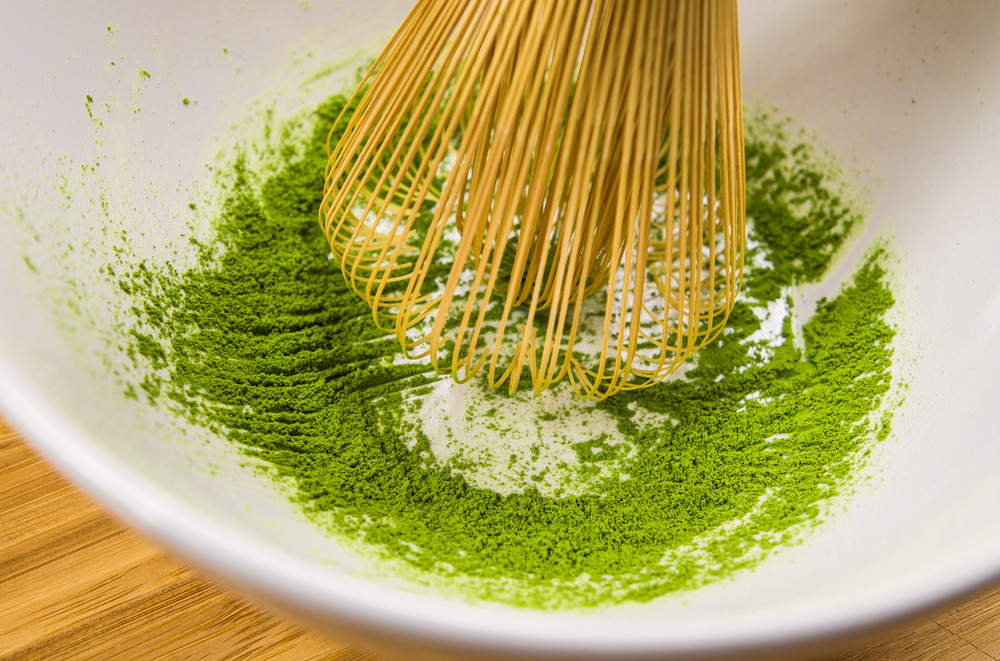 sift matcha into bowl