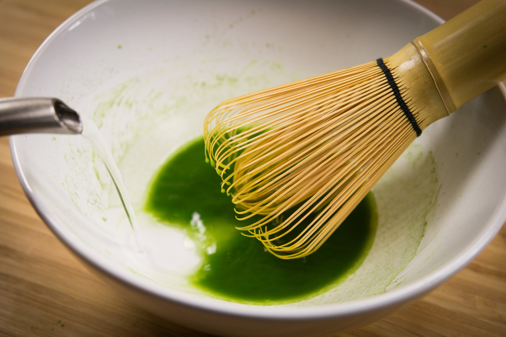 stir in 165 degree water into matcha