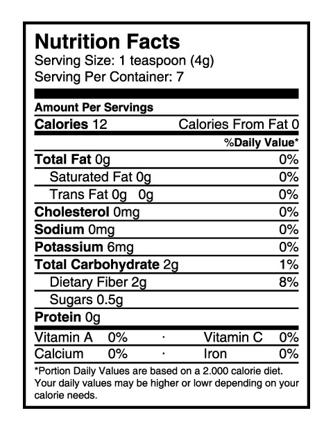 vanilla powder nutrition facts