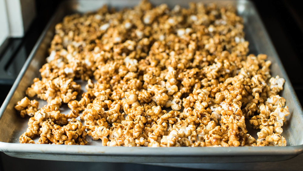 Kettle corn cooling.