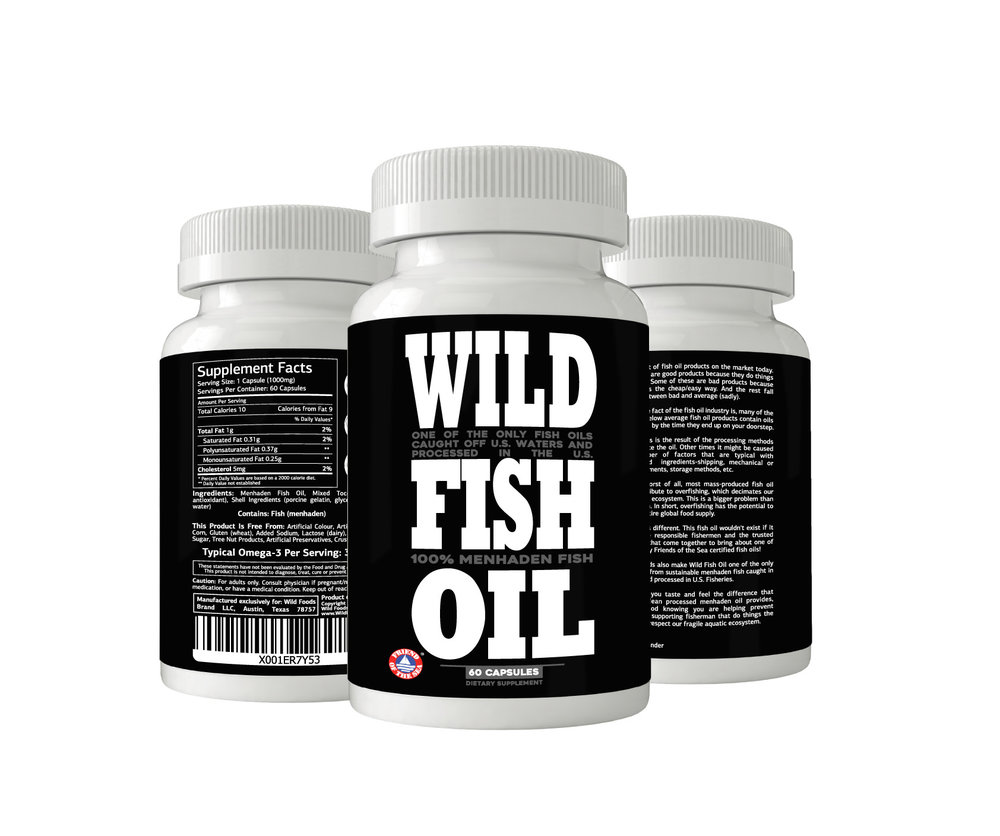Fish Oil Caps  $17.95 - Monthly Subscription with FREE SHIPPINGOur best-selling Wild Fish oil in a new easy-to-swallow gel caps. Wild Fish Oil is one of the only omega-3 fish oils in the world Certified by Friends of the Sea because it does not disrupt fragile aquatic ecosystems and is caught in U.S. Waters and processed in U.S. Fisheries.