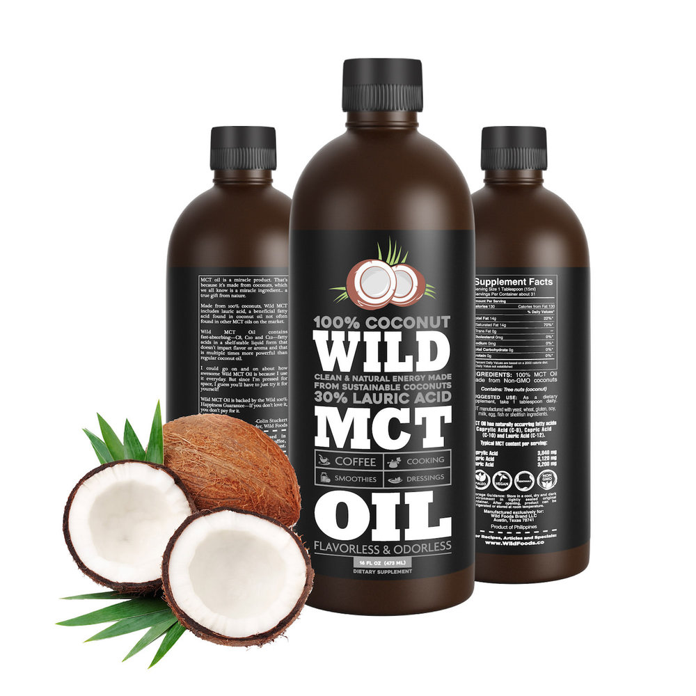 MCT Oil 16oz $19.95 - Wild MCT Oil with C12 (Lauric acid) which provides the benefits of both coconut oil and MCT oil. Unlike coconut oil, it won't solidify at room temperature or impart a coconut flavor and is made from 100% coconuts.