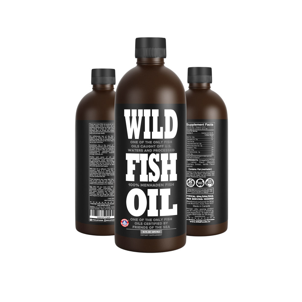 Fish Oil 16oz  19.95  - Monthly Subscription with FREE SHIPPINGOne of the best-tasting fish oils on the market and one of the only in the world Certified by Friends of the Sea! Wild Fish Oil does not disrupt fragile aquatic ecosystems. Caught in U.S. Waters and processed in U.S. Fisheries. Support fishermen that respect our oceans.