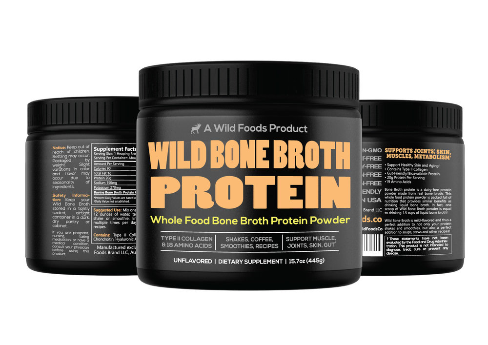 Bone Broth 16oz $29.95 - Wild Bone Broth is mild-flavored and thus a perfect addition to your protein shakes and smoothies as well as great in soups, stews and other recipes!