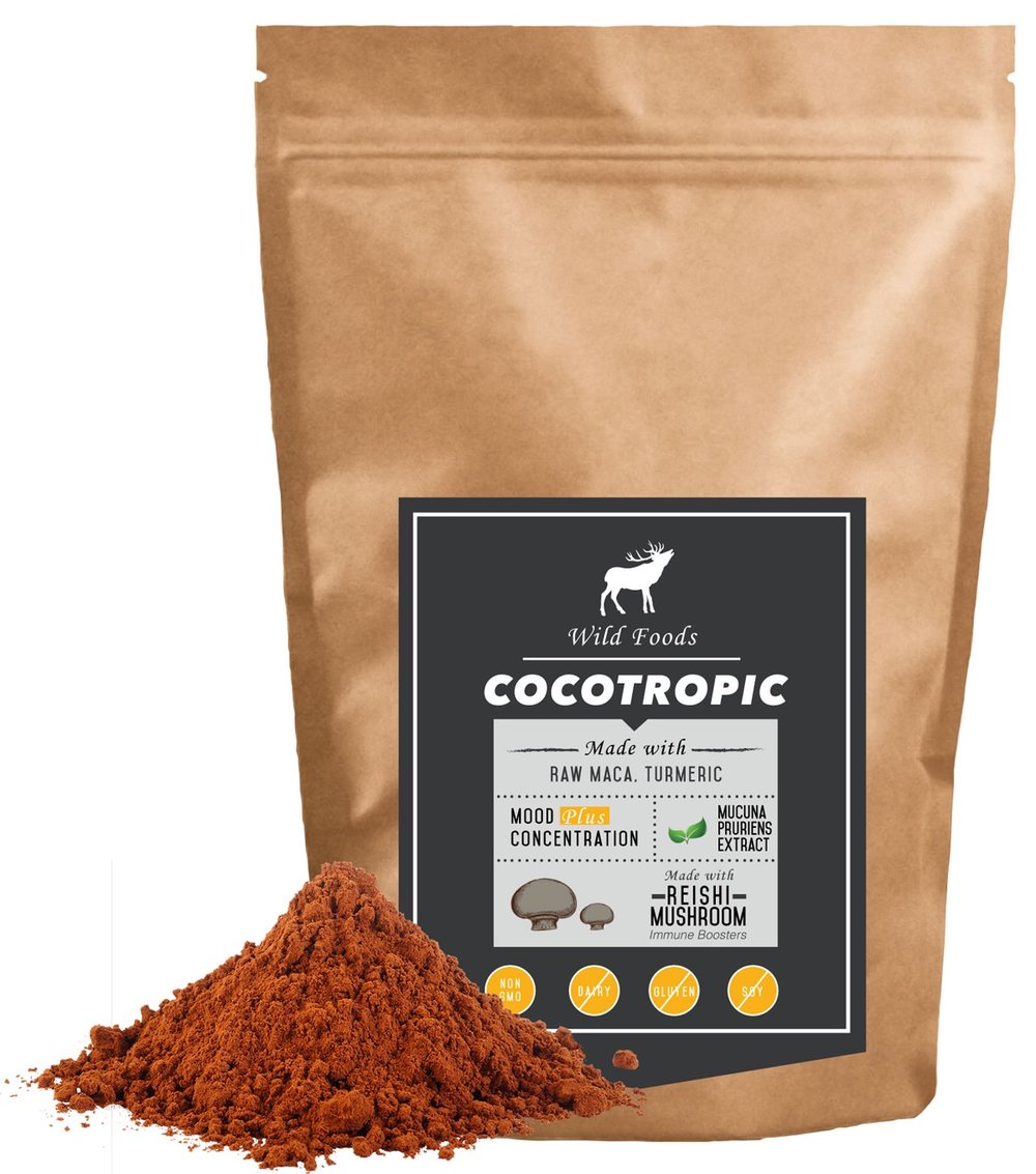 Cocotropic 8oz $15.95  - Monthly Subscription with FREE SHIPPINGA delicious blend of our best-selling Wild Chocolate with reishi mushroom, raw maca powder, mucuna pruriens and Wild Turmeric. Sip it hot—just like hot cocoa—or blend it with your butter coffee brews and/or protein shakes.