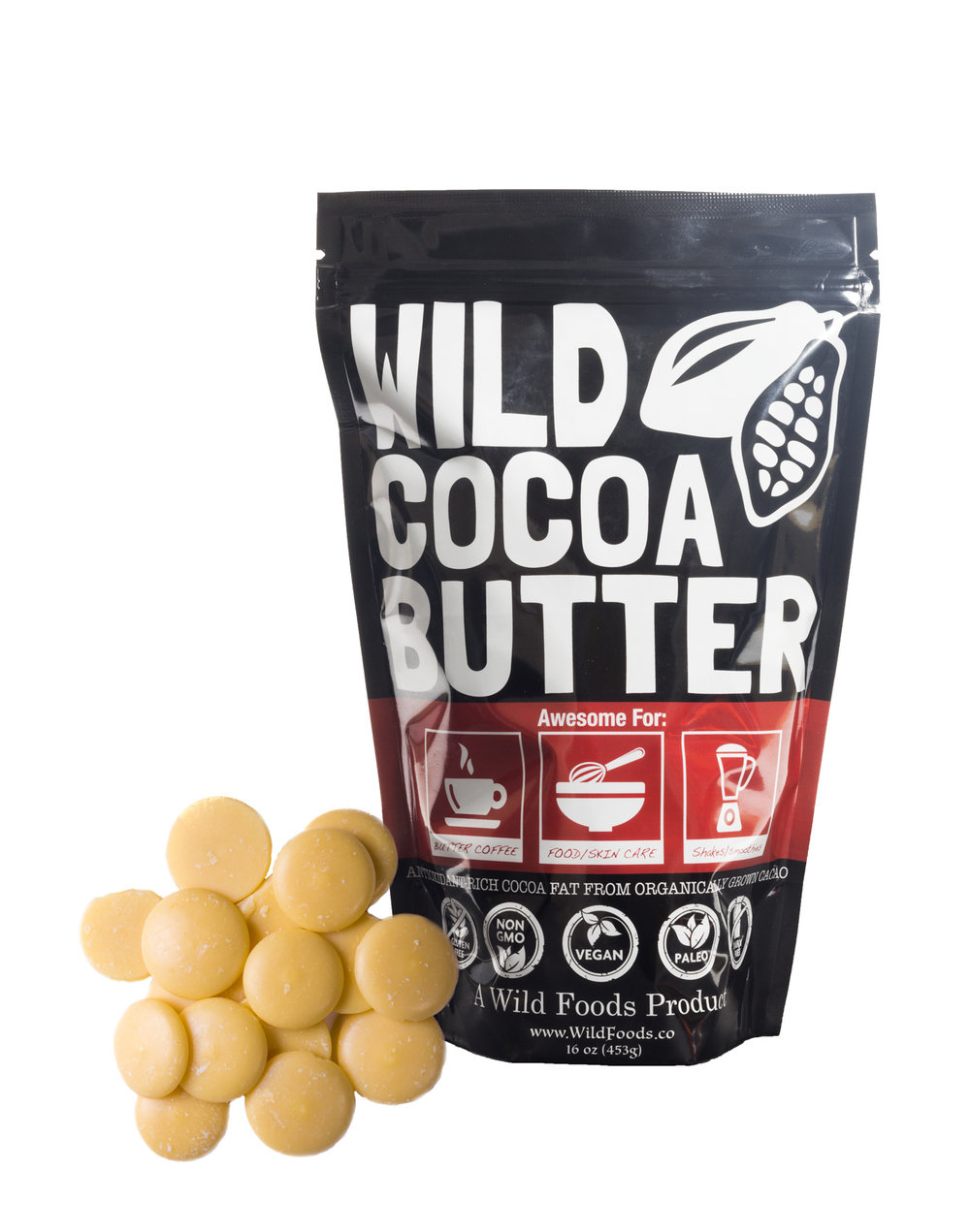 Cocoa Butter 8oz $12.95 - Wild Cocoa Butter Wafers are Raw, Organically grown, Unrefined, Non-Deodorized, Food Grade and Certified Fair Trade Cacao butter from small family farmers!