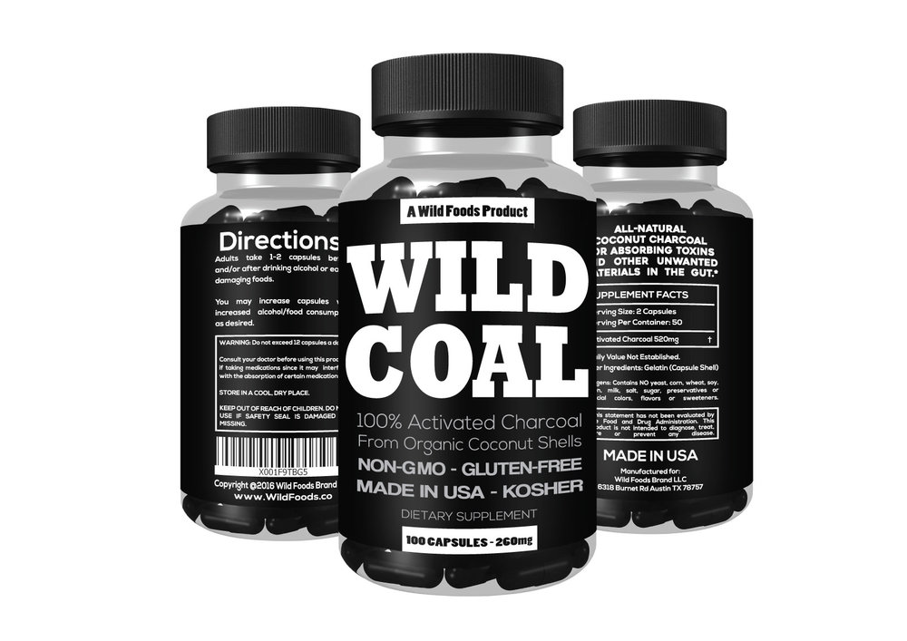 Wild Charcoal $12.95 - Monthly Subscription with FREE SHIPPINGActivated charcoal absorbs unwanted materials in the gut, letting your body pass them through smoothly and comfortably. *Take before, during and after eating low quality foods or when drinking alcohol. 100x 260mg Capsules are Food Grade, USA Made, Non-GMO, Gluten-Free, Kosher