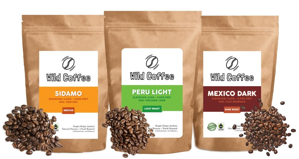 12oz Wild Coffee Beans $17.95  - Wild Coffee beans are fresh roasted daily in small batches.