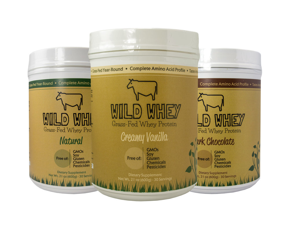 Wild Whey 1.3lb $47.95 - Wild Whey is a non-denatured native whey protein made from the grass-fed milk of happy cows that roam and graze on organic pastures year round.