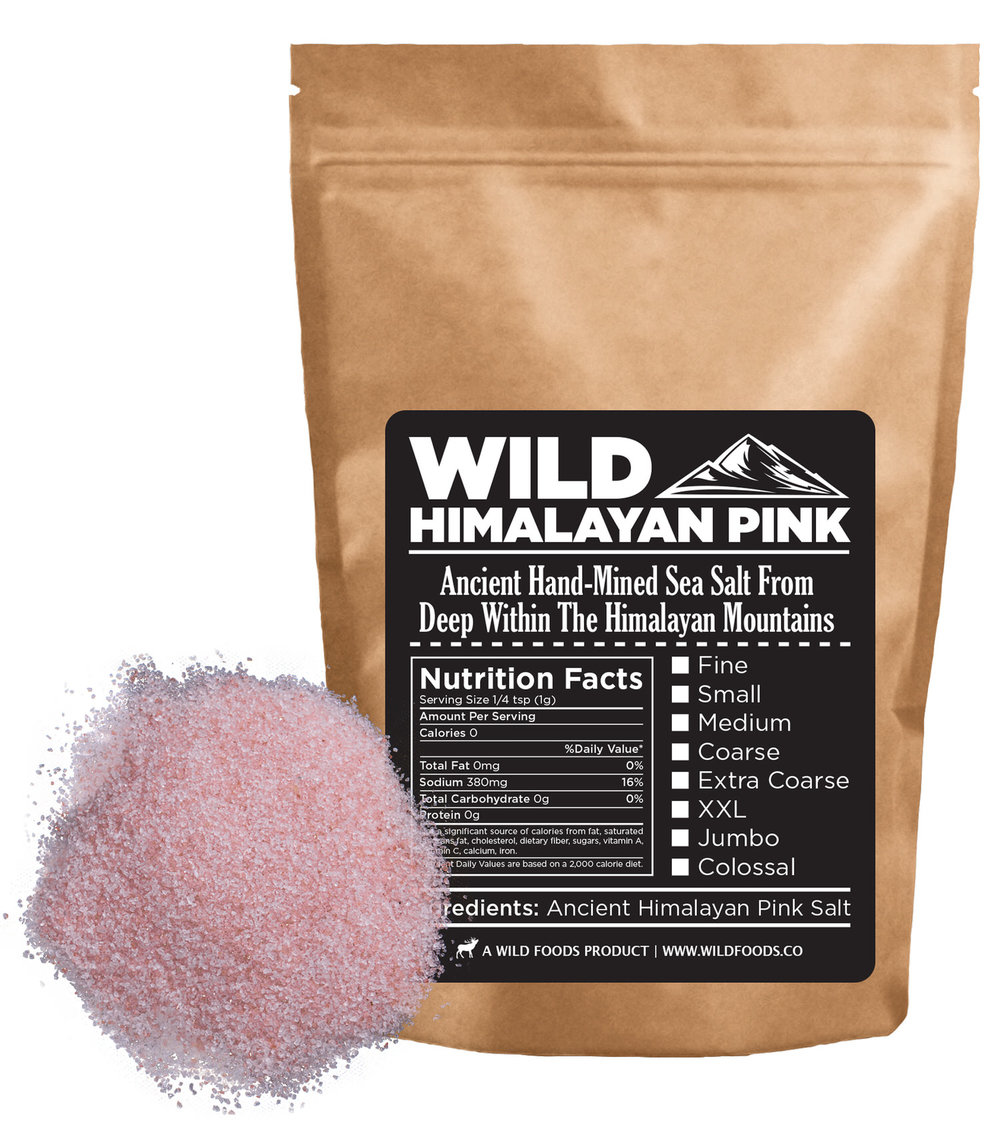 Pink Salt 16oz $12.95  - Wild Pink Himalayan Pink Salt is mined from deep under the Himalayan mountains. The salt is hundreds of millions of years old, the purest salt on the on Earth that has not been touched by man and his pollution.