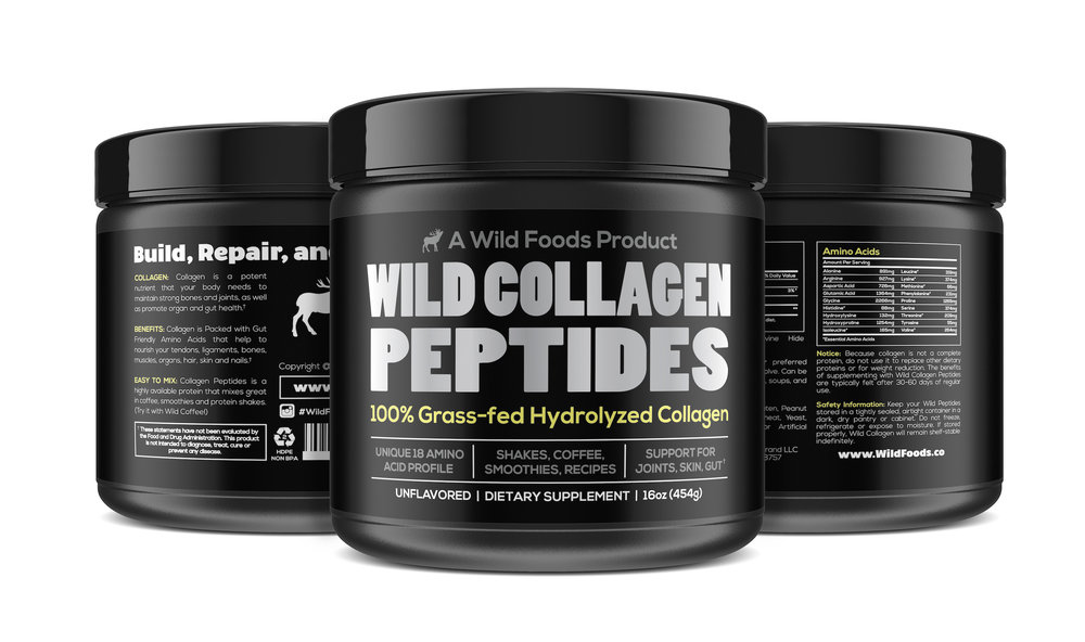 Collagen 16oz $27.95  - Wild Collagen is an unflavored powder best suited for protein shakes and smoothies as well as a perfect addition to soups, stews and other recipes!