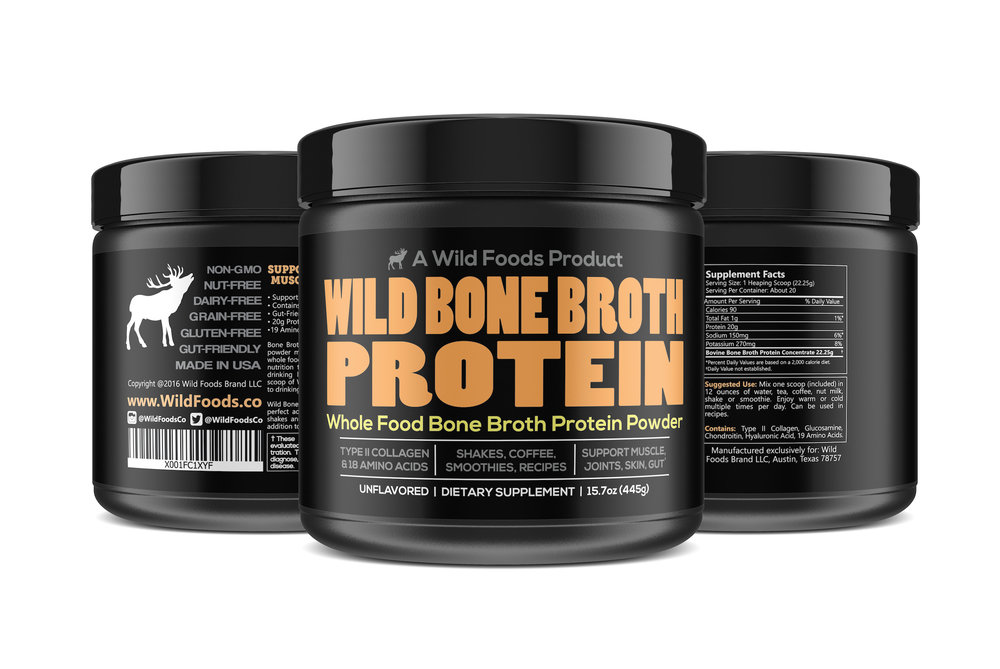 Bone Broth 16oz $27.95 - Wild Bone Broth is mild-flavored and thus a perfect addition to your protein shakes and smoothies as well as great in soups, stews and other recipes!