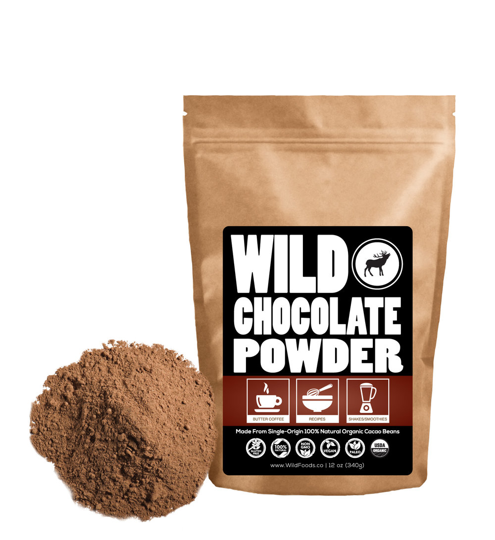 Wild Cocoa 8oz $12.95 - Wild Chocolate powder is a non-alkalized cocoa powder that is grown and processed using hand-crafted artisan techniques without the use of chemicals, solvents or harsh high-heat processes.