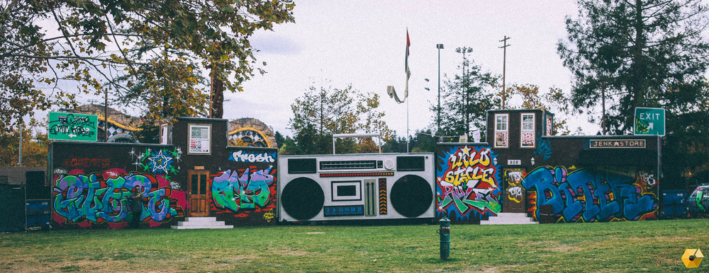 Overview of the Boombox Stage at Beyond Bay built by The Imagine Nation