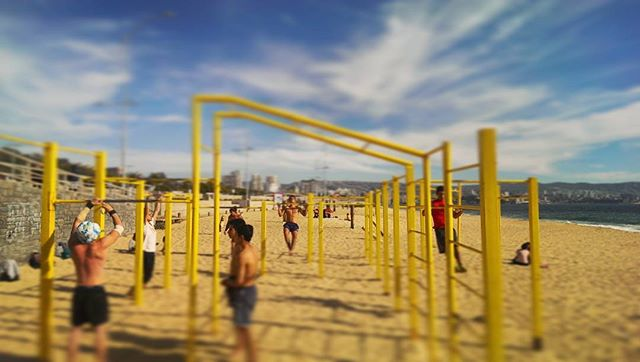After fighting many urges to exercise again I walked a few hours to Viña del Mar from Valparaiso while in Chile this week. I discovered this large sports beach and a lot of Calisthenics equipment with an ocean view. It reminded me of my home exercise grounds in Elwood, Melbourne.  #calisthenics #exercise #beach #outdoorfitness #vinadelmar #Valparaiso #Chile #Latinamerica #southamerica #traveler #travel #viaje #viajero #sun #muscle #crossfit #fitness #aussie #sportsbeach #playa #deporte #training #body