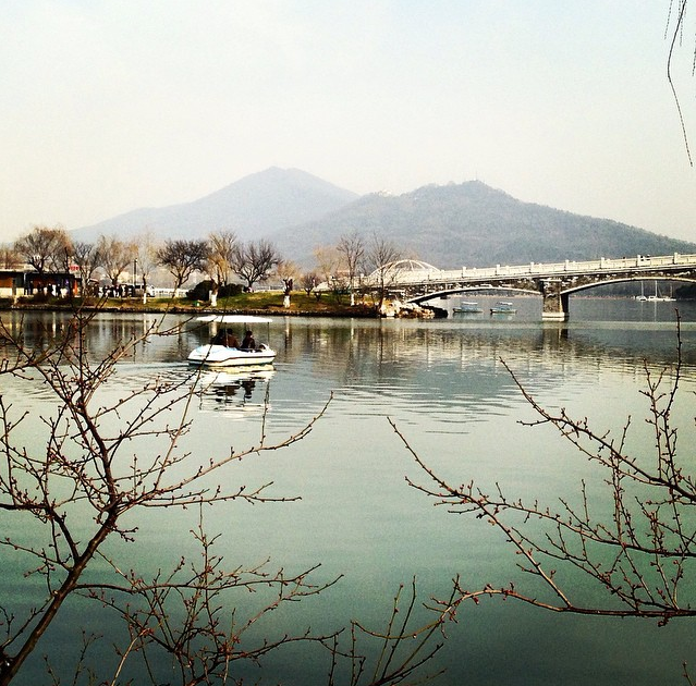 (Photo: Post-run admiration of Nanjing's beauty at Xuanwu Lake)
