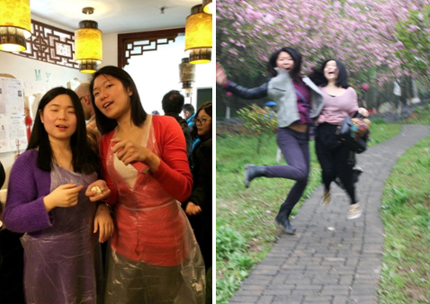 Eva and I making dumplings on the left, and spending QingMing Festival together on the right