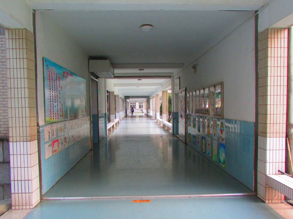 The hallway leading up to the grade three classrooms.