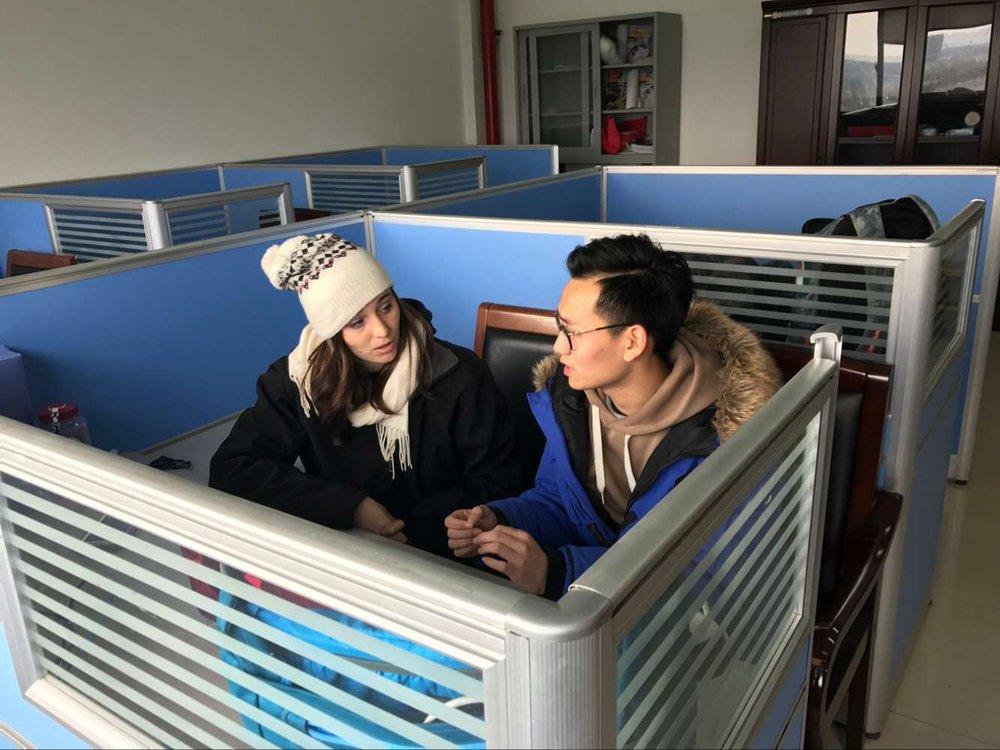 Larissa Klein, Alumnus, tutoring a high school student in Changzhou.
