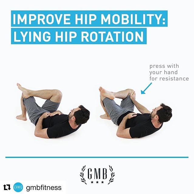 Easy hip mobility drill! Give this a shot! #Repost @gmbfitness with @get_repost ・・・ Do you have a job, a car, and a couch? Congratulations! Your hips are probably as tight as Mick Jagger's pants.  Here's a quick stretch to loosen up those tight hips: ➡️ Lie on back with both knees bent. ➡️ Cross one ankle over the opposite knee. ➡️ Move in and out of the stretch by rotating the hip in and out. ➡️ For the hold, use your hand for assistance to press into the knee.