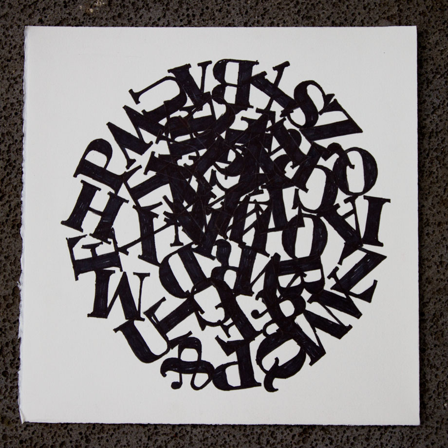 Letter Collisions - ink on paper