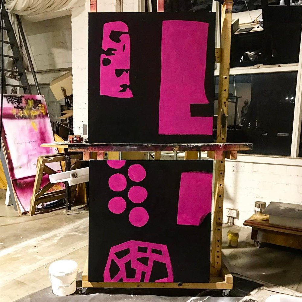 ——————• #art #artwork #foundobject #instaart #black #pink #construction #abstractart #abstraction #monochrome #minimalism #workinprogress #wip #painting #studio #magenta