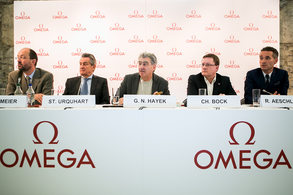 Mr Hayek announcing the partnership between Omega and METAS in December 2014 ©Omega Ltd