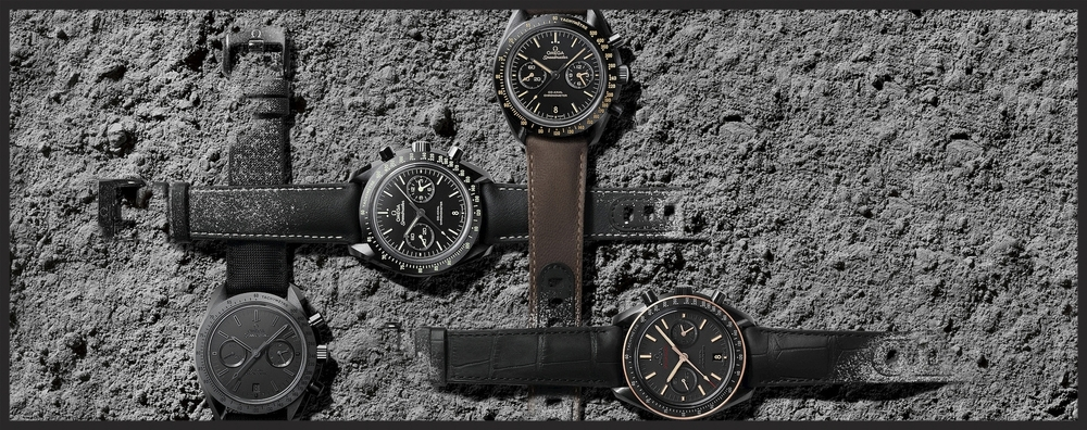 From left to right, THe Black Black, the Pitch Black, the Vintage Black and the Sedna Black. © OMEGA Ltd