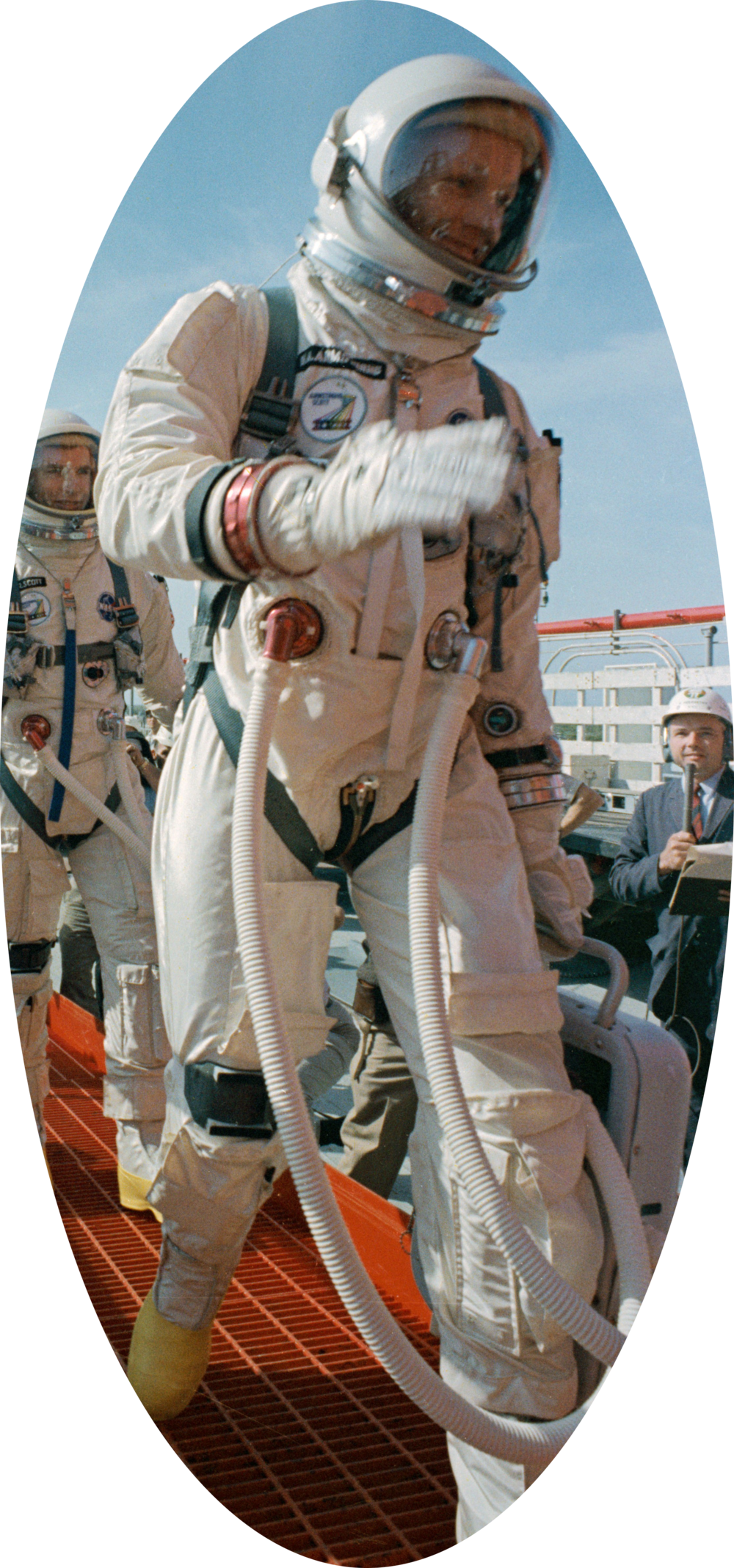 Jimmie Mattern's All-Proof on the right wrist of Neil Armstrong. You can see the strap just above the red cuff.