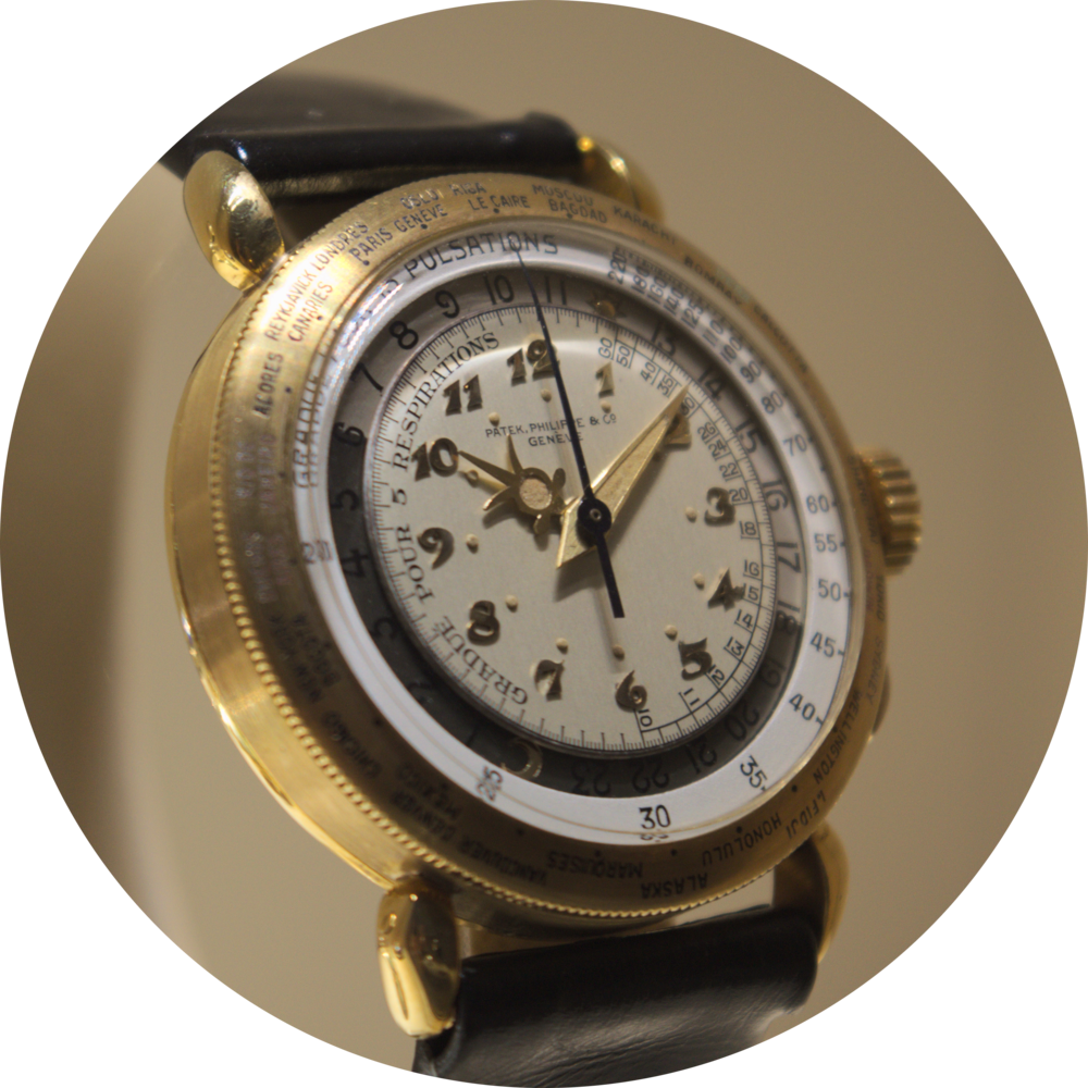 Ref 1415-1 HU - World Time Wristwatch with Chronograph and Pulsometer Scale