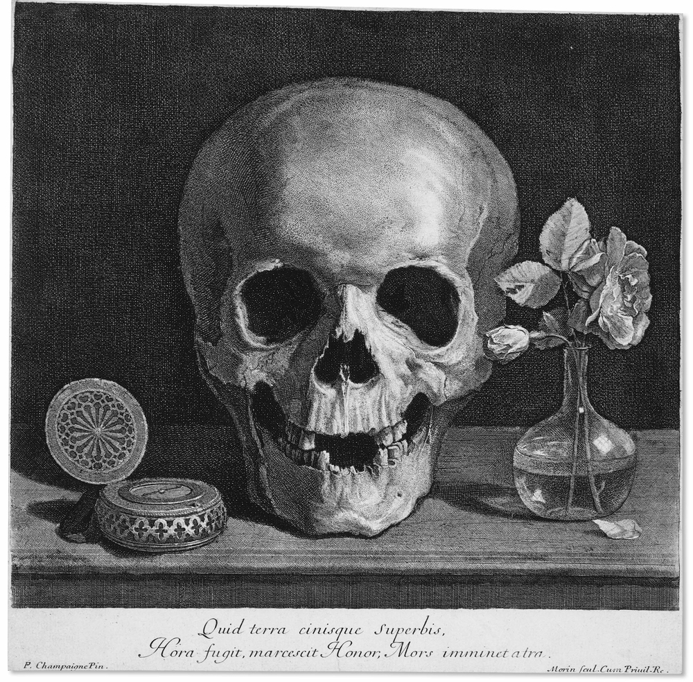 Jean Morin's  Memento Mori  (The Skull) 1650. Image courtesy of the British Museum.