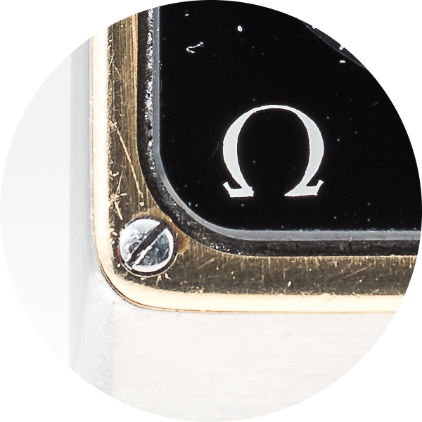 Omega Marine Chronometer corner and Omega symbol.png